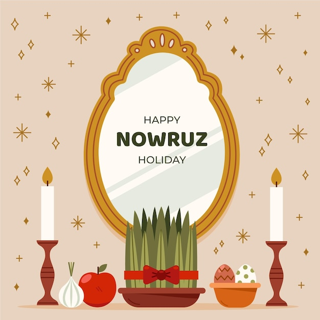 Flat happy nowruz celebration Premium Vector