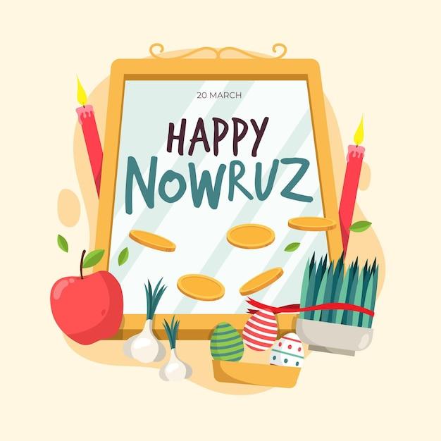 Flat happy nowruz event elements Free Vector