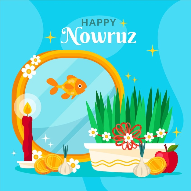 Flat happy nowruz event Free Vector