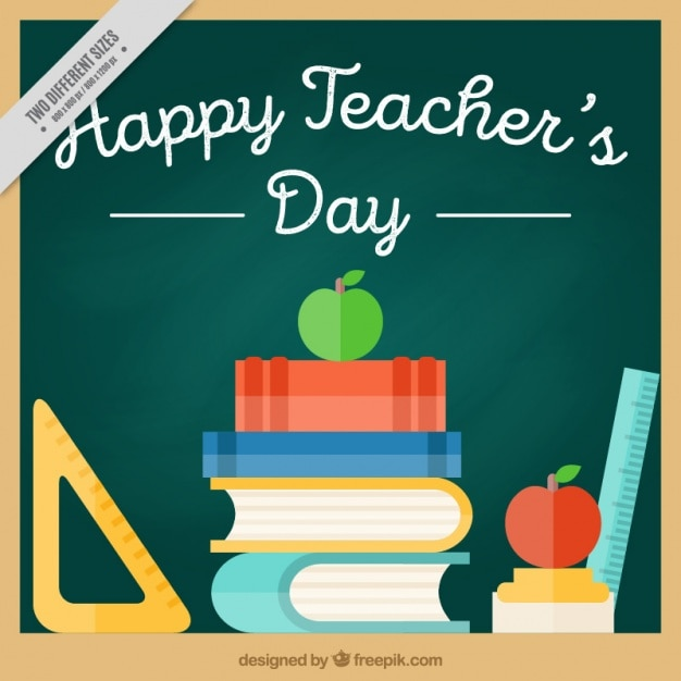 Flat happy teacher day background