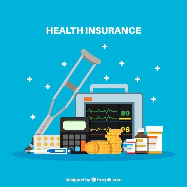 Flat healt insurance elements Free Vector