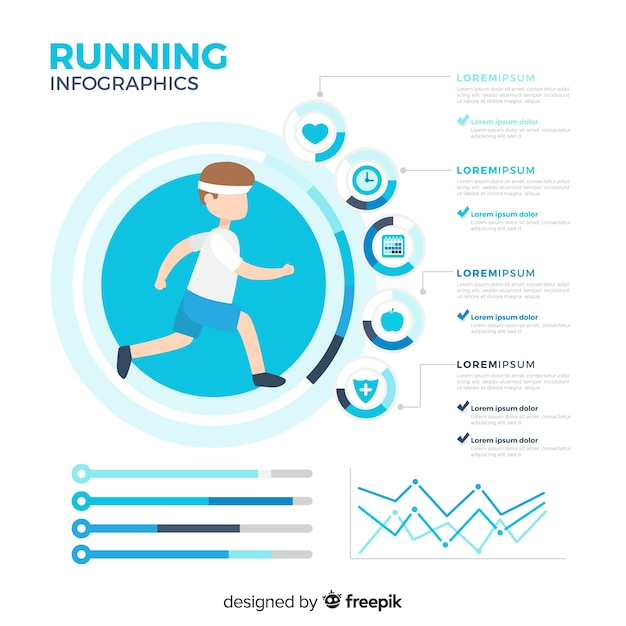 Flat health infographics of athletes Free Vector