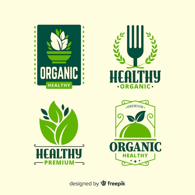 Flat healthy food logo set Free Vector
