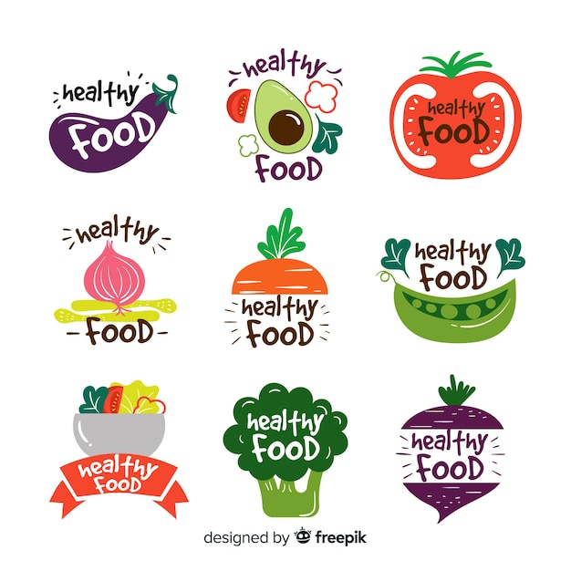 Flat healthy food logos Free Vector