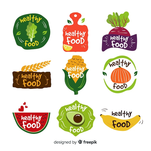 Flat healthy food logos Free Vector
