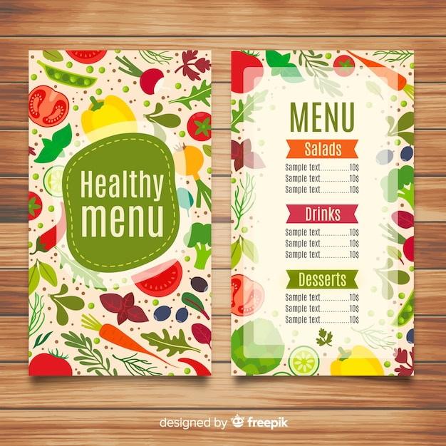 Flat healthy menu template Free Vector