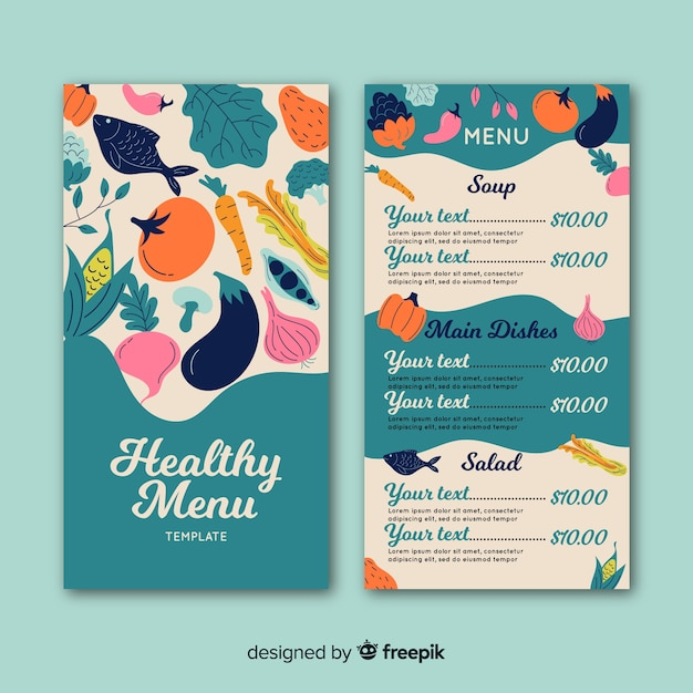 Flat healthy menu template Free Vector
