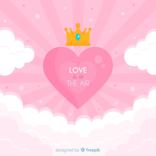Flat heart background Free Vector