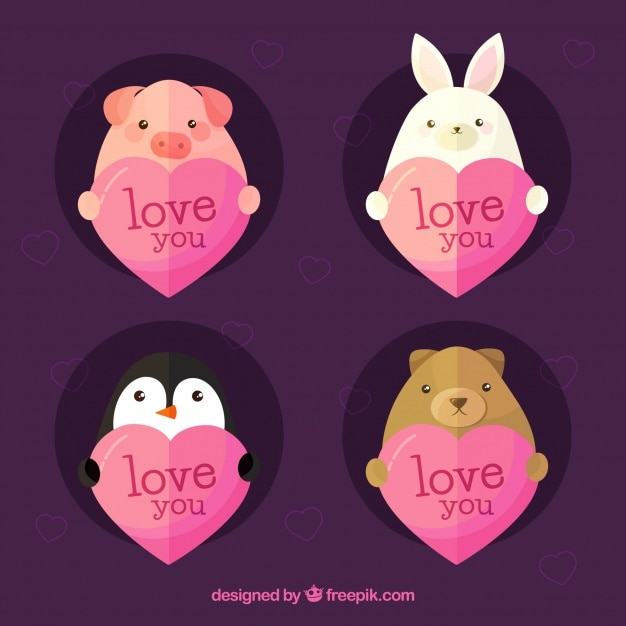 Flat heart collection with cute animals Free Vector