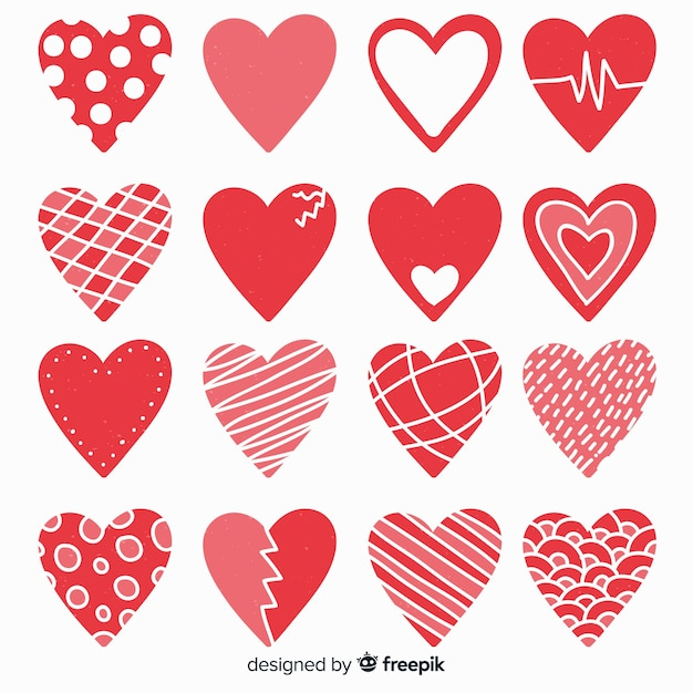 Flat heart collection Free Vector
