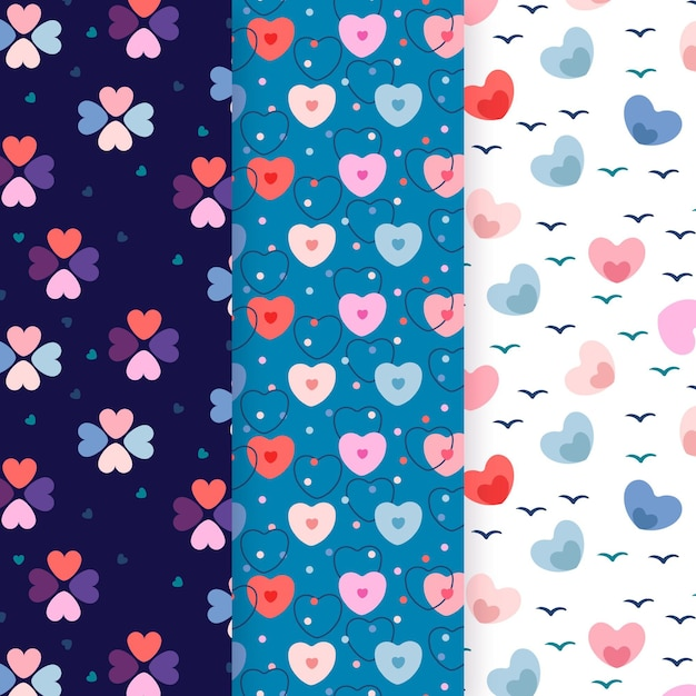 Flat heart pattern collection Premium Vector