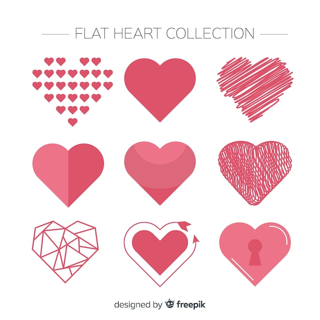 Flat heart set Premium Vector