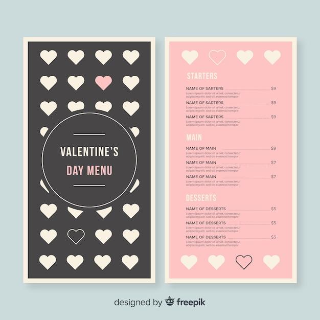 flat hearts valentine menu template free vector