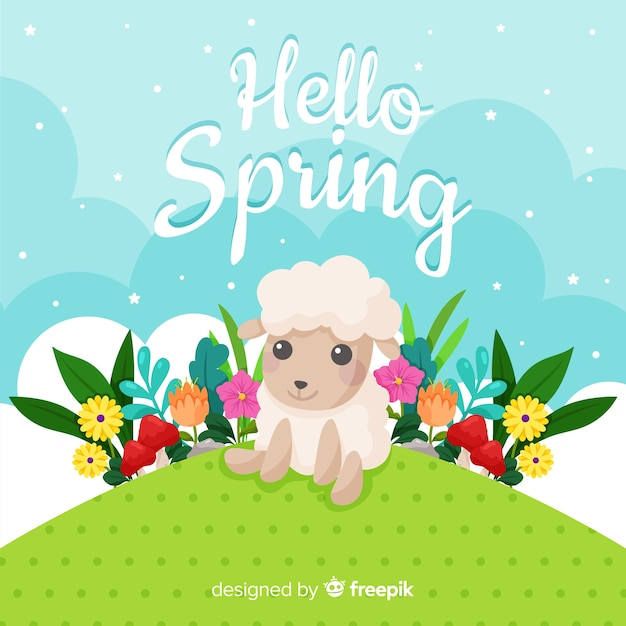 Flat hello spring background Free Vector