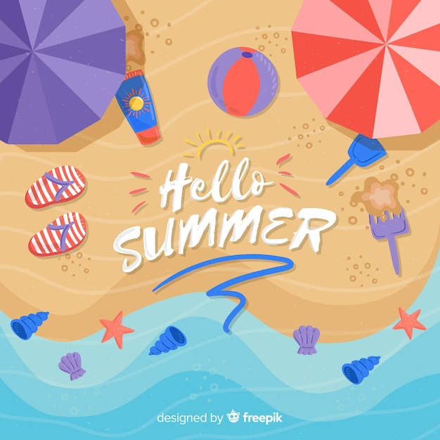 Flat hello summer background at the beach Free Vector