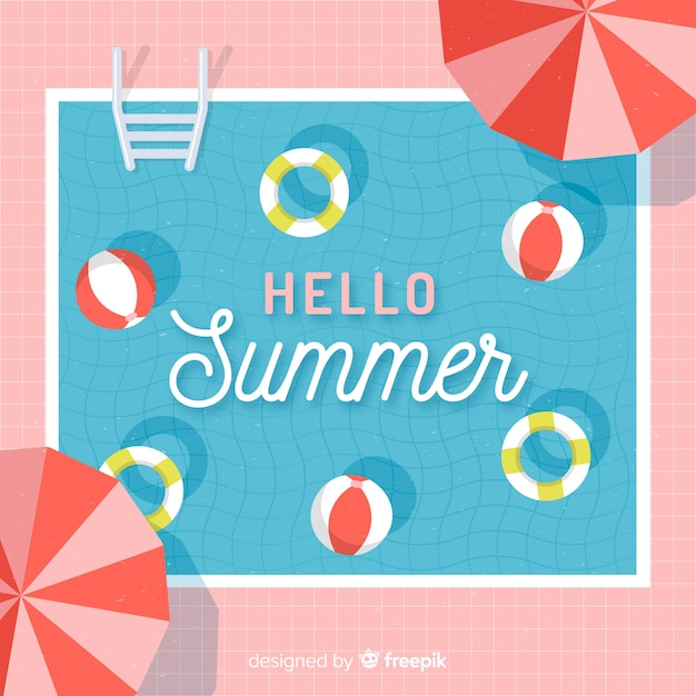 Flat hello summer background at the pool Premium Vector