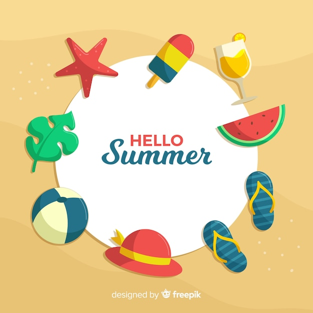 Flat hello summer background Free Vector