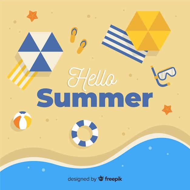 Flat hello summer background Free Vector