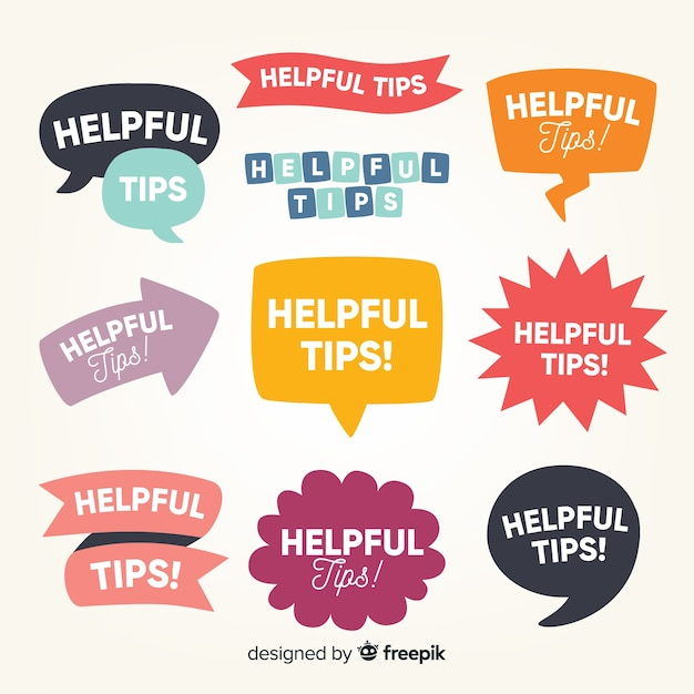 Flat helpful tip label collection Free Vector