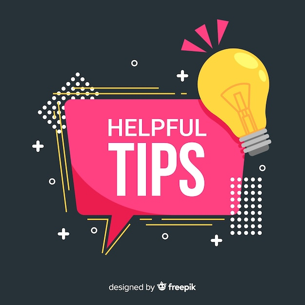 Flat helpful tips background Free Vector