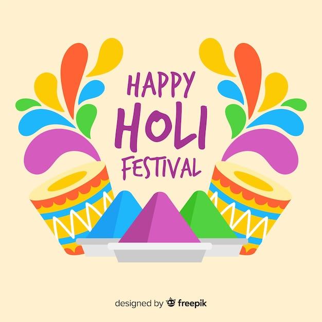 Flat holi festival background Free Vector