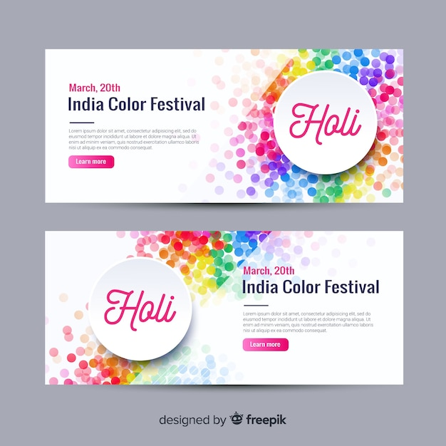 Flat holi festival banner Free Vector