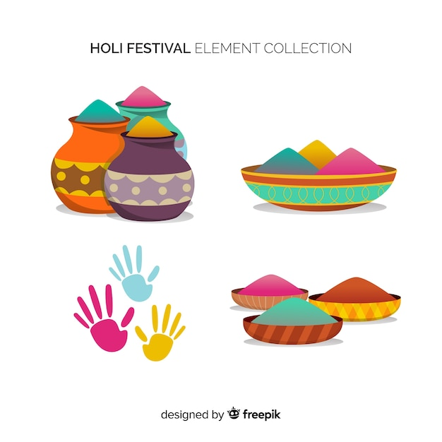 Flat holi festival element collection Free Vector