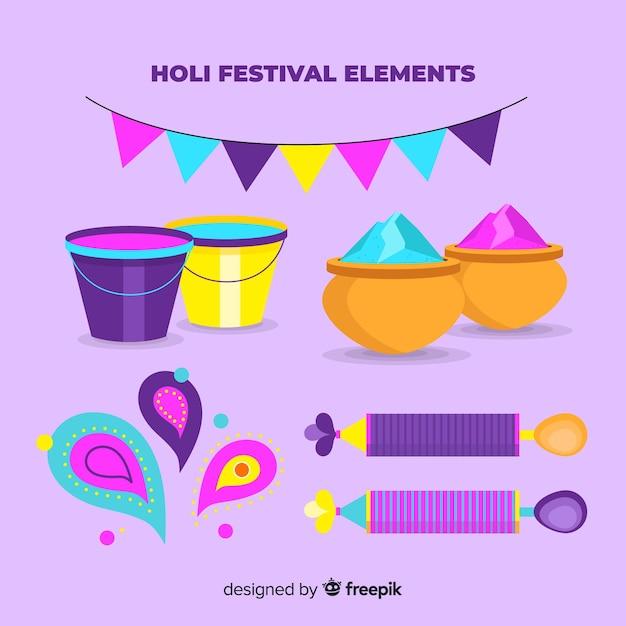 Flat holi festival element pack Free Vector