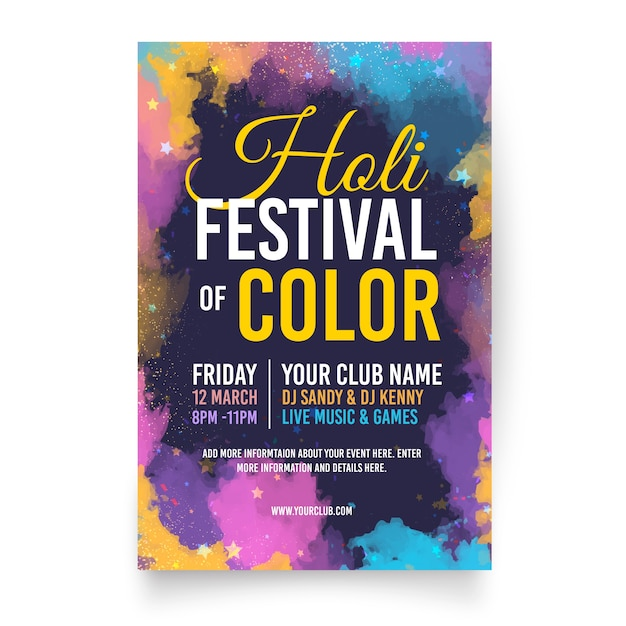 Flat holi festival flyer template Free Vector