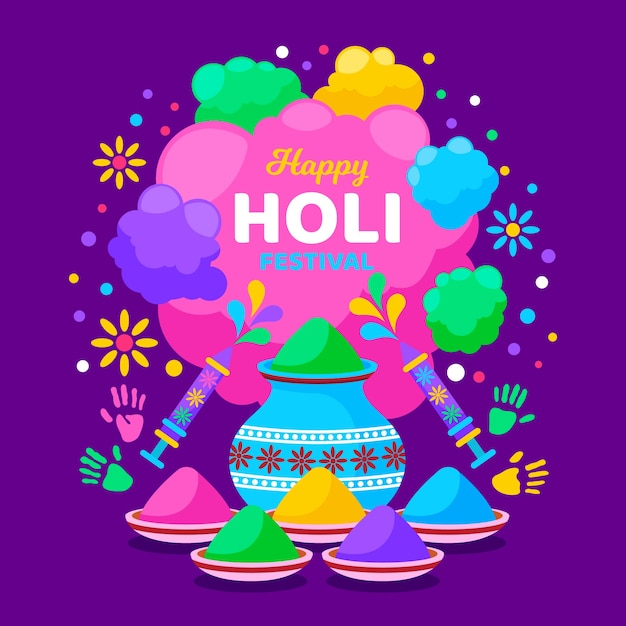 Flat holi festival with colourful fireworks Free Vector