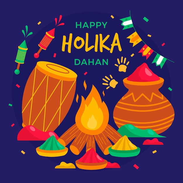 Flat holika dahan illustration Free Vector