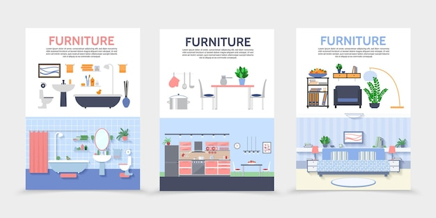 Flat home interior posters with kitchen bathroom living room furniture and accessories illustration Free Vector