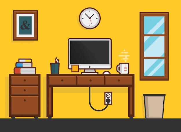 Flat home work рабочий стол на рабочем месте Premium векторы