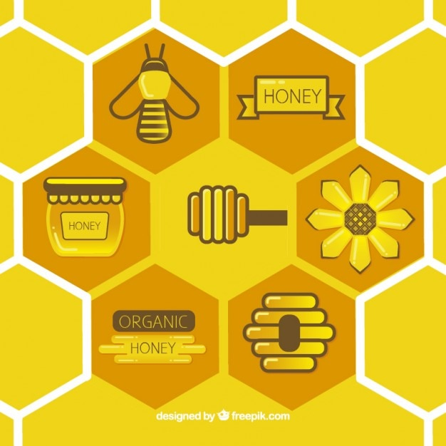 Flat honeycomb with elements Free Vector