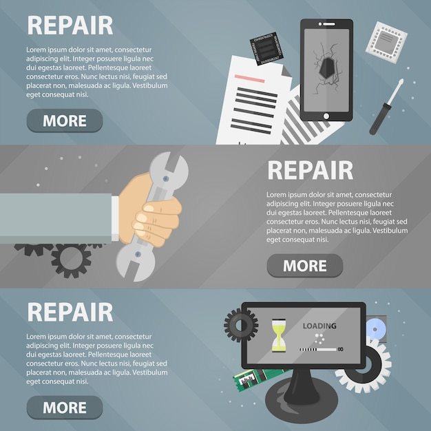 Flat horizontal banners of repair for websites. business concept of computer support service and electronic market. Premium Vector
