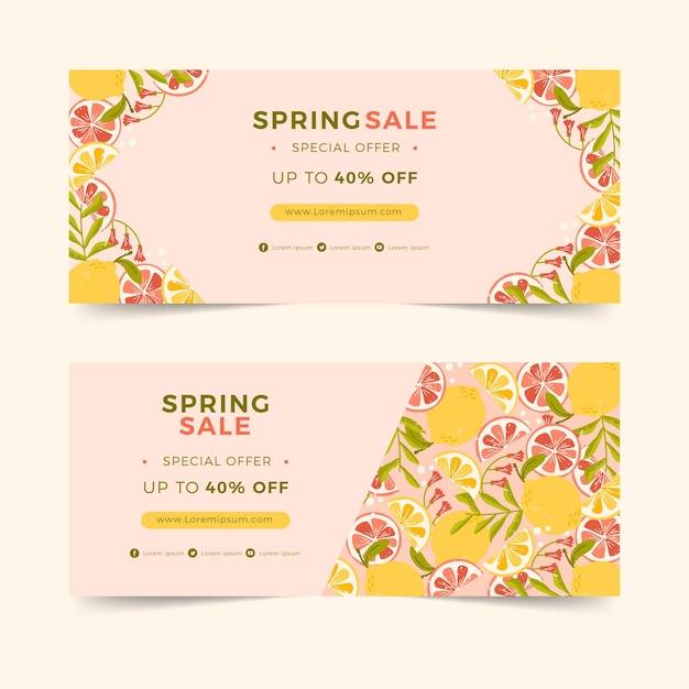 Banner orizzontale piatto per vendita di primavera con agrumi Vettore gratuito