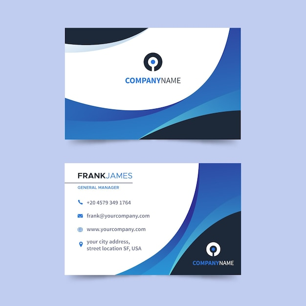 Flat horizontal business card Premium Vector