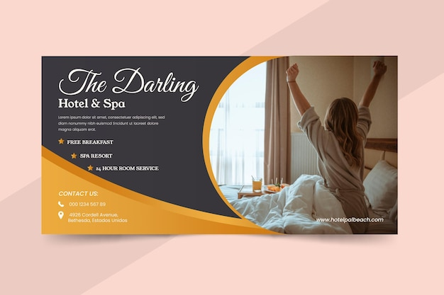 Flat hotel banner with photo Free Vector