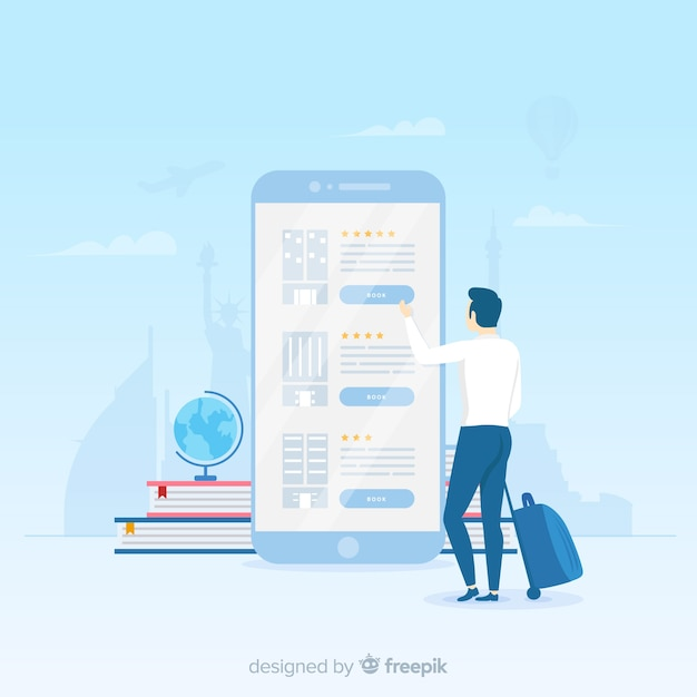 Flat hotel booking application background Free Vector