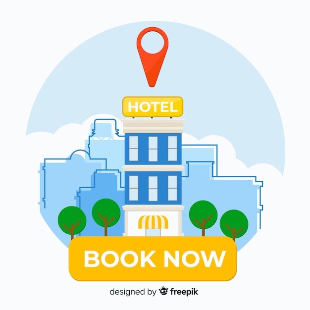 Flat hotel booking background Free Vector