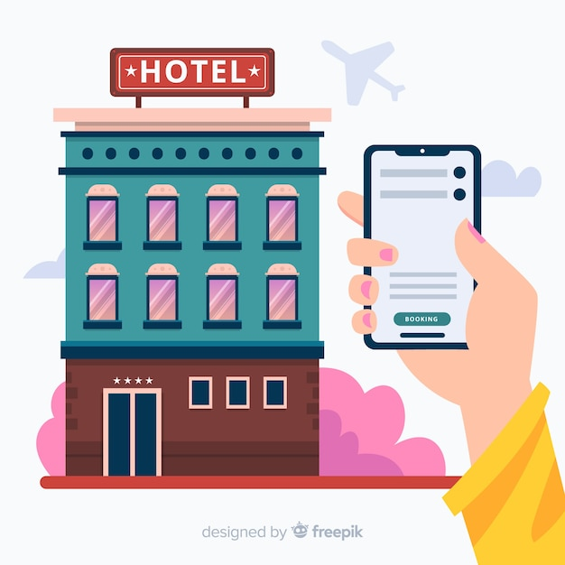 Flat hotel booking concept background Free Vector