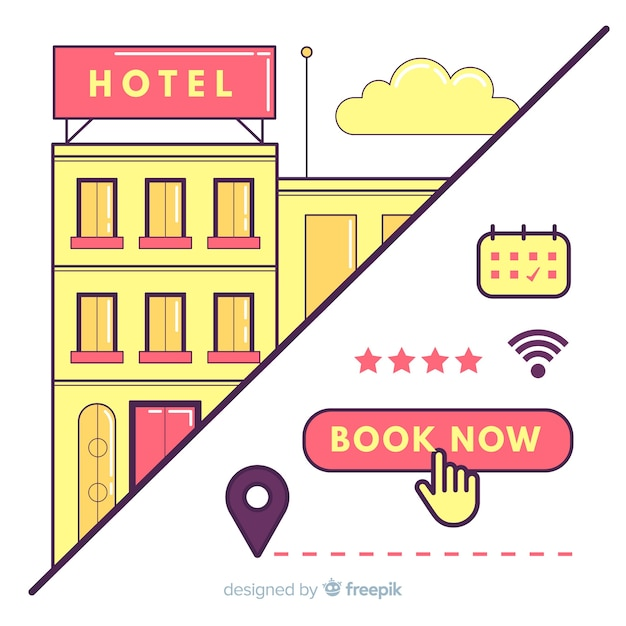 Flat hotel booking concept background Premium Vector