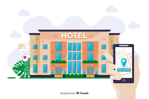 플랫 호텔 예약 개념 무료 벡터
