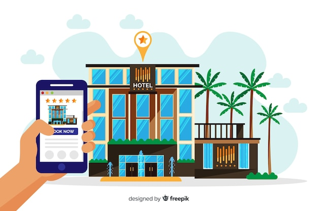 Flat hotel booking concept Free Vector
