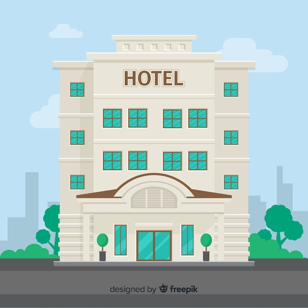 Flat hotel building background Premium Vector