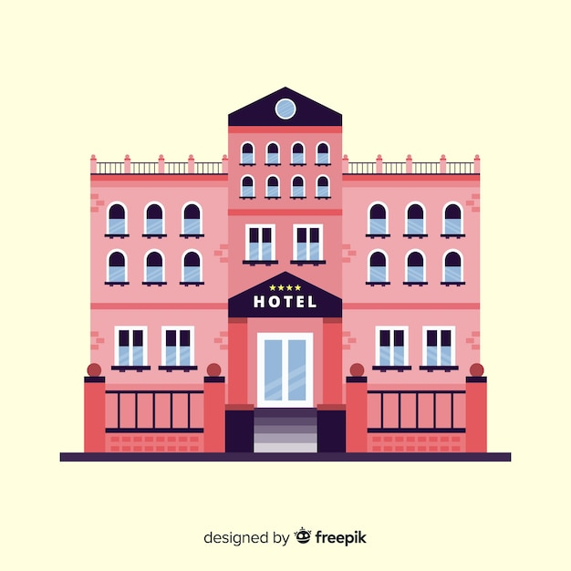 Flat hotel building background Free Vector