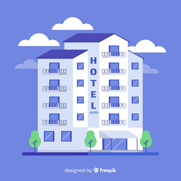 Flat hotel building illustration Free Vector