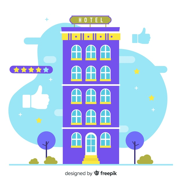 Flat hotel building review concept Free Vector