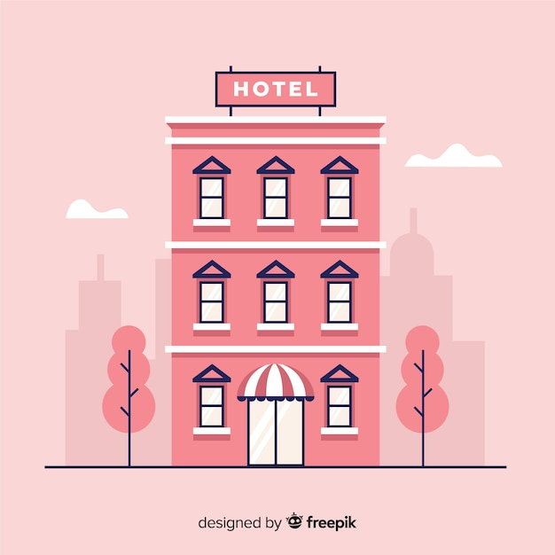 Flat hotel building in town Free Vector