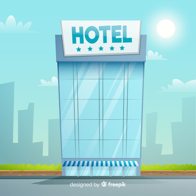 Flat hotel building Free Vector